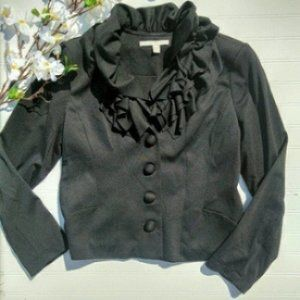 Fever black knit ruffled blazer